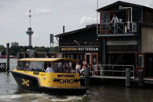 Getting around Rotterdam in a watertaxi